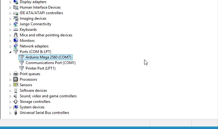 COM arduino mega